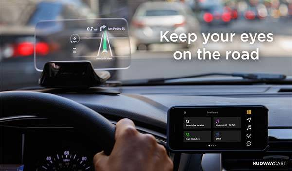HUDWAY Cast Portable Head-Up Display Wirelessly Connects with Smartphone