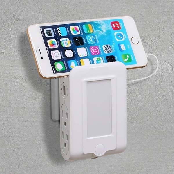 The USB Wall Charger with AC Outlets, Phone Holder and LED Night Light