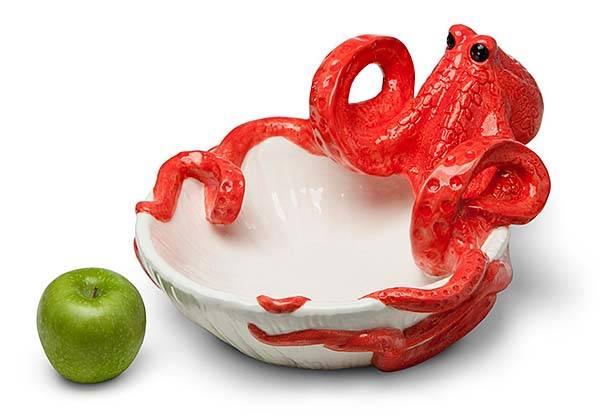 Octopus Sculpted Ceramic Serving Bowl