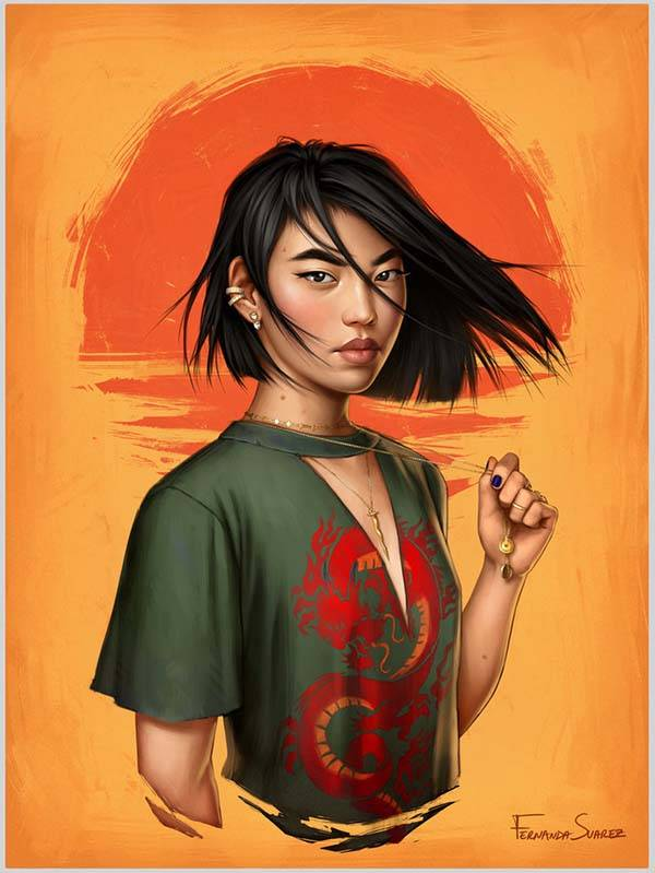 The Digital Posters Show Disney Princesses in Modern World - Mulan