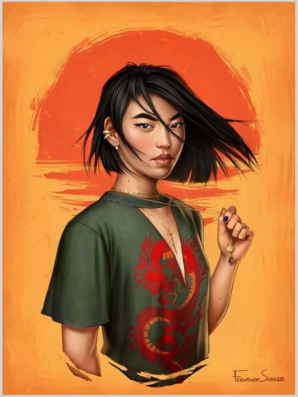 The Digital Posters Show Disney Princesses in Modern World - Mulan
