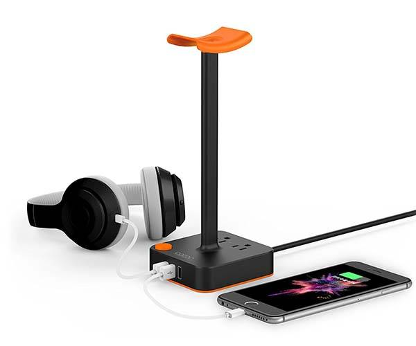 The Headphone Holder with Charging Station and AC Outlets