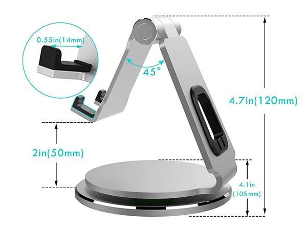 Anypro 360-Degree Rotating Aluminum Universal Tablet Stand