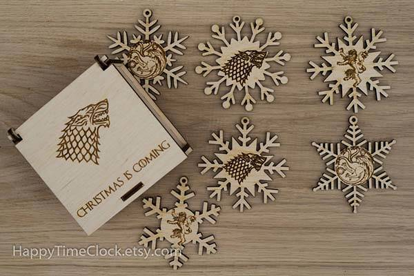 Handmade Game of Thrones Wooden Snowflake Ornaments