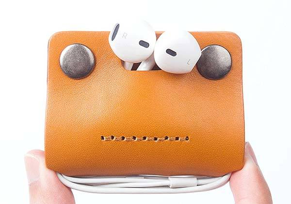 Handmade Leather Earbud Holder