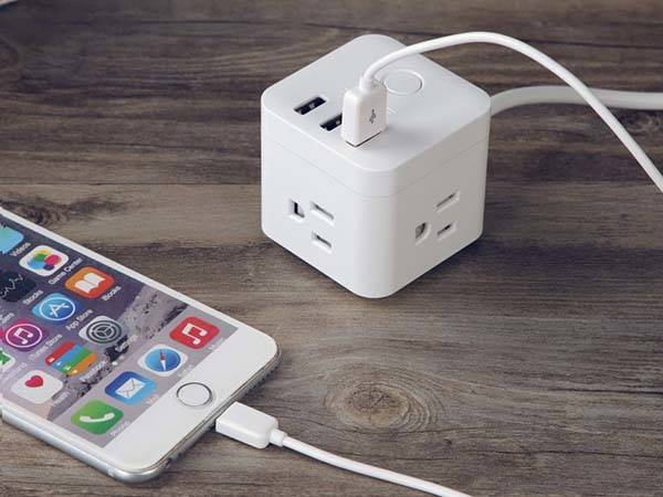 The Cubic Compact Power Strip with 3 USB Ports