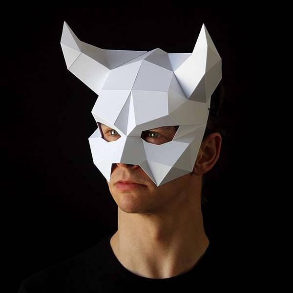 The Low-Poly Paper Masks Ready for Halloween Party