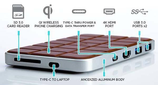 Chocolate Hub 2 USB-C Docking Station with Wireless Charging