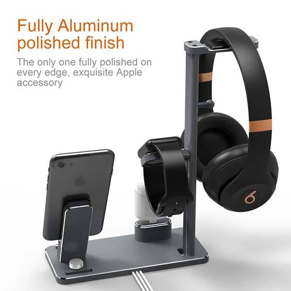 Multi Device Charging Station with Headphone Holder