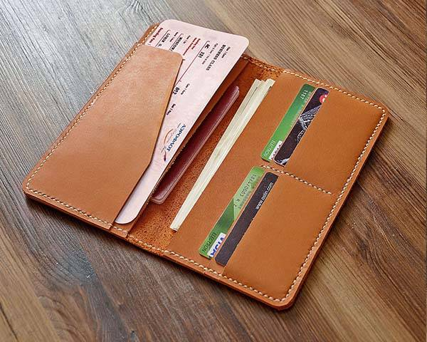 Handmade Customizable Leather Boarding Pass Wallet
