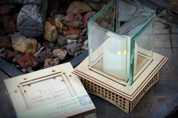 Handmade Tabletop Glass Fireplace