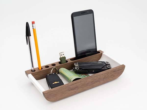 Handmade Valet Tray with Phone Stand, Pen Holder and More