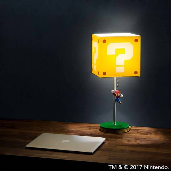 Jumping Super Mario Question Block Desk Lamp