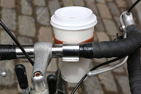 Kikkerland Leather Bicycle Cup Holder