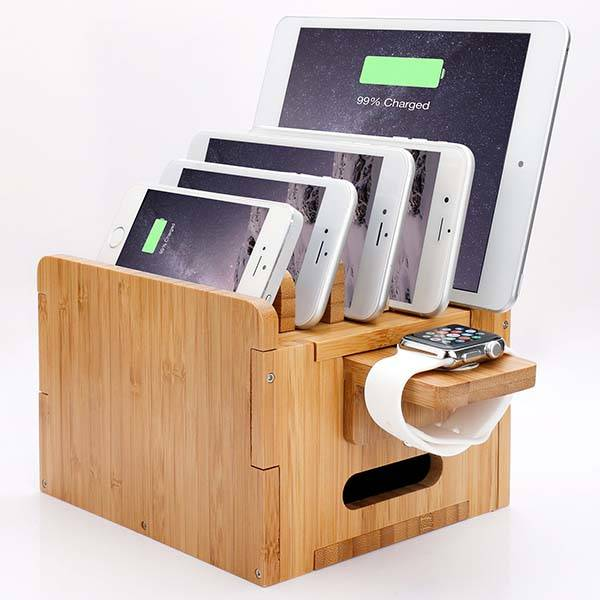 Levin Bamboo Charging Station with Storage Box