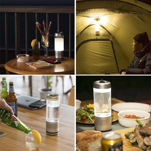 Playful Base Bluetooth Water Bottle with Speaker and LED Lantern