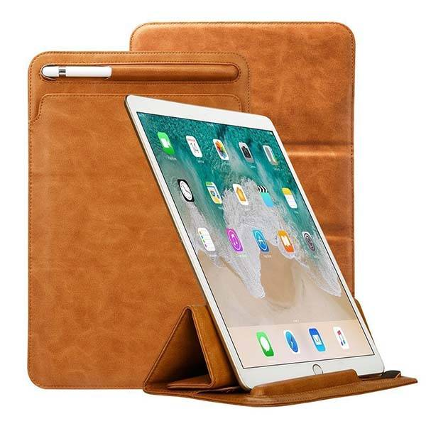 Toovren iPad Pro Leather Sleeve with Apple Pencil Holder