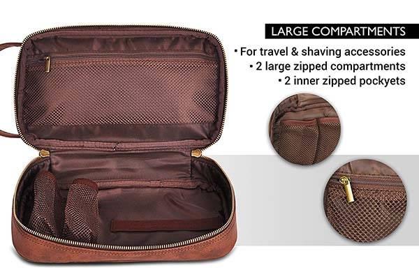 Vetelli Mens Leather Toiletry Bag