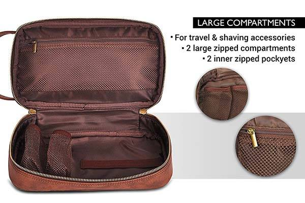 Vetelli Mens Leather Toiletry Bag