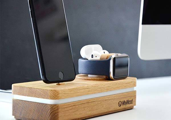 Dockit Handmade Wooden Apple Dock for iPhone, AirPods and Apple Watch