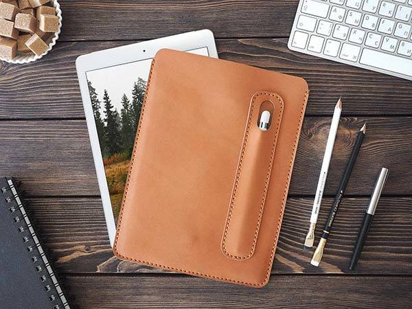 Handmade Customizable iPad Pro Leather Cover with Apple Pencil Holder