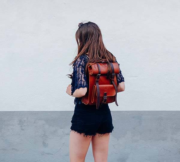 Handmade Leather Roll Top Backpack