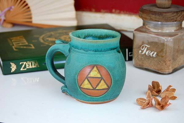 Handmade Legend of Zelda Triforce Pottery Mug