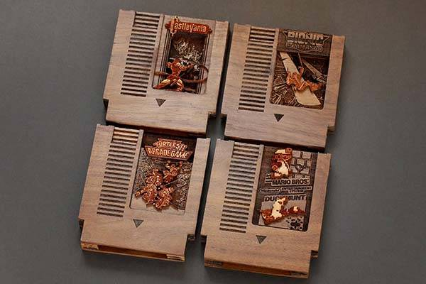 Handmade NES Game Cartridge Shaped Wooden Raspberry Pi Zero Case