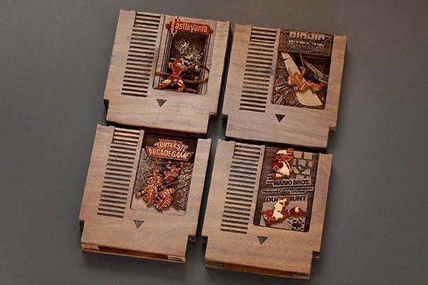 Handmade NES Game Cartridge Shaped Wooden Raspberry Pi Zero Case