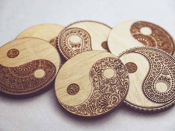 Handmade Yin Yang Wooden Coaster Set