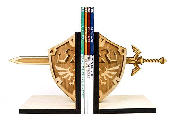 Handmade Wood Bookends Inspired by Zelda Hylian Shield and Master Sword