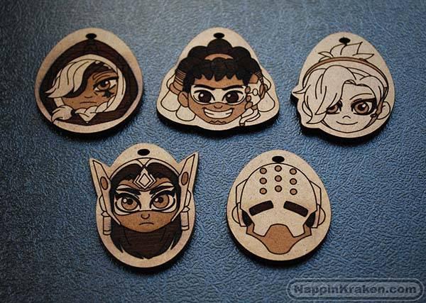 Chibi Overwatch Hero Character Wooden Keychains