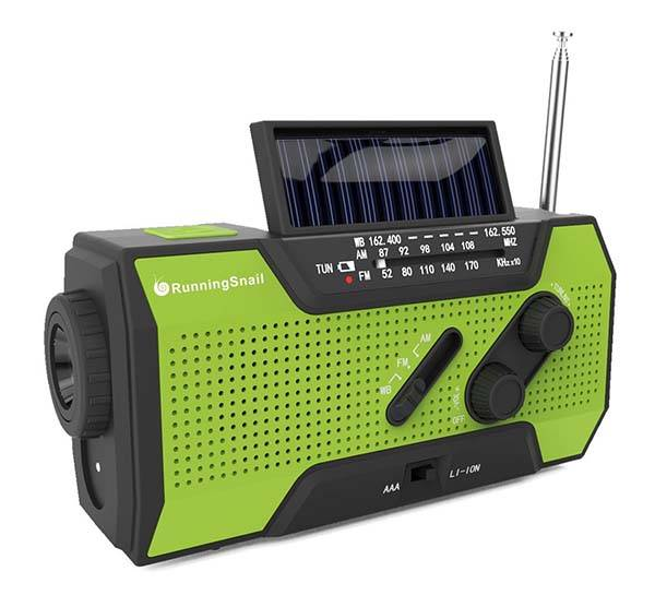 The Solar Crank NOAA Weather Radio with AM/FM, LED Flashlight and Power Bank