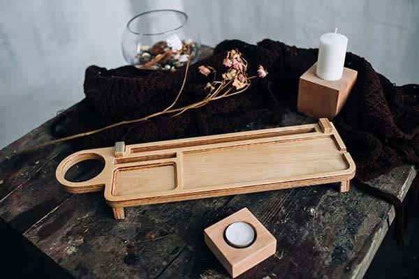 Handmade Wooden Customizable Desk Organizer