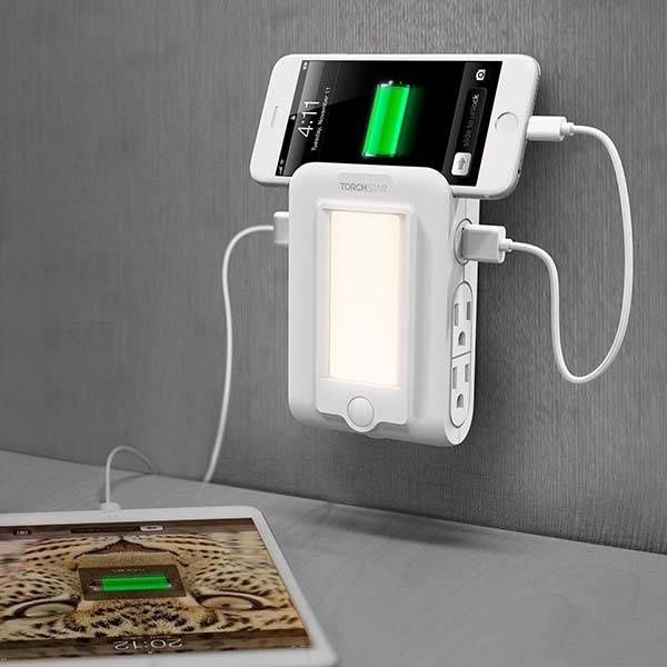 Torchstar Wall Mount Charger with AC Outlets, LED Night Light and Phone Holder