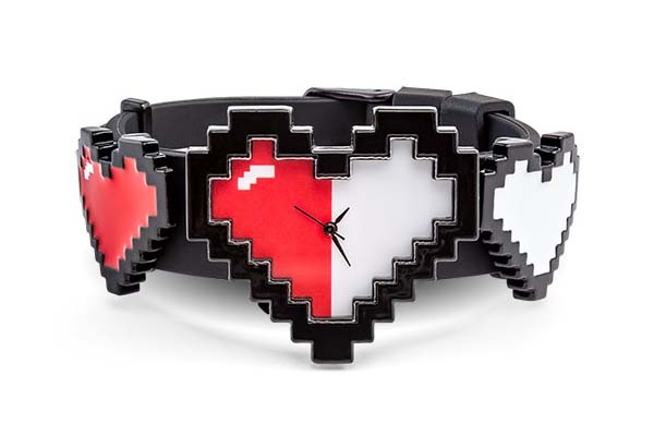 8-Bit Hearts Watch Inspired by Retro Gaming Health Meters