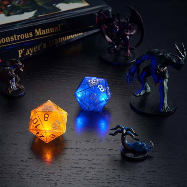 Critical Hit Solar and Lunar LED D20 Dice Set