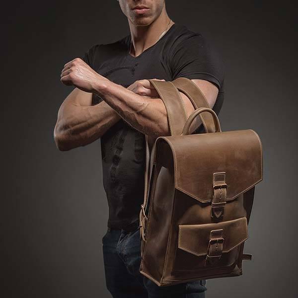 Customizable Urban-Style Handmade Leather Backpack