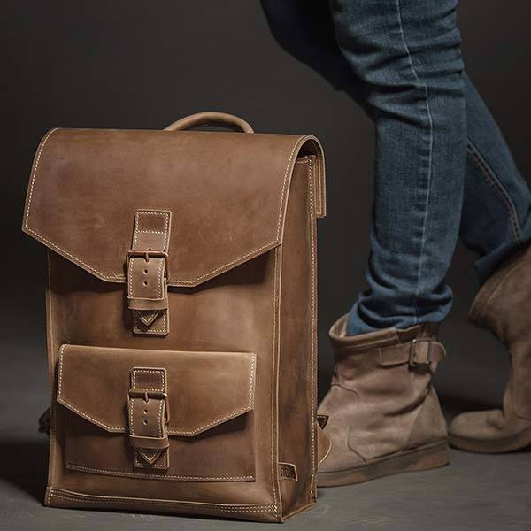 Customizable Urban-Style Handmade Leather Backpack