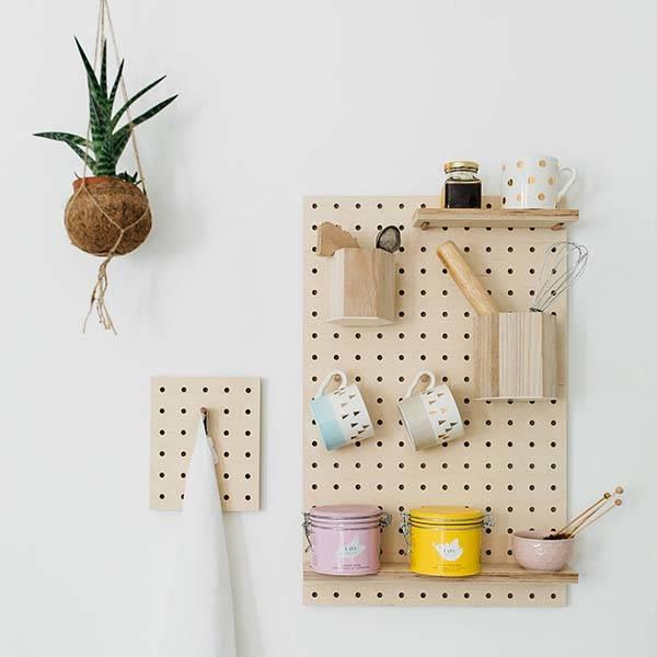 Handmade Rectangular Wooden Pegboard