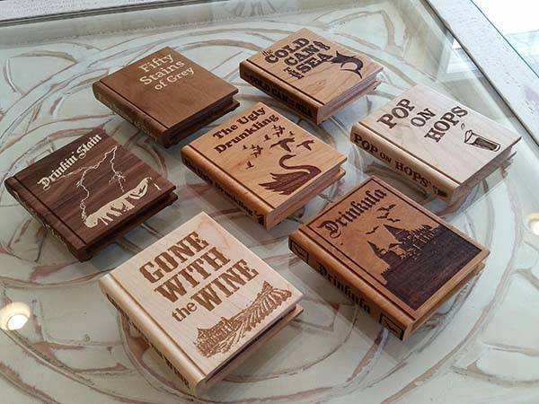 Handmade Book Shaped Wooden Drink Coasters
