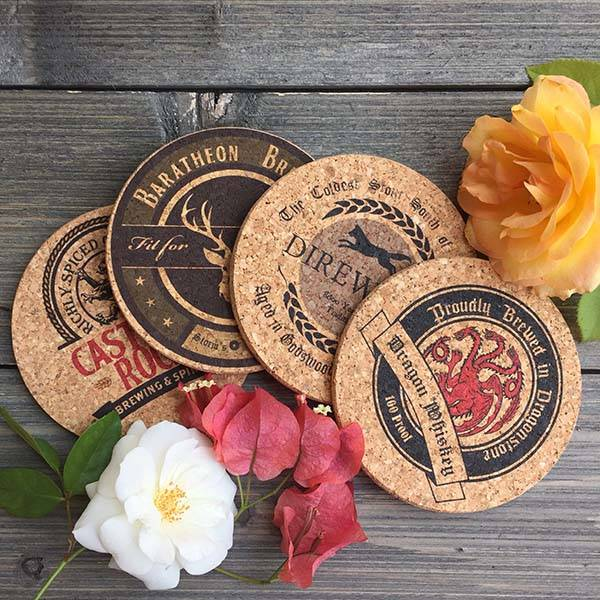 Handmade Game of Thrones Cork Coaster Set