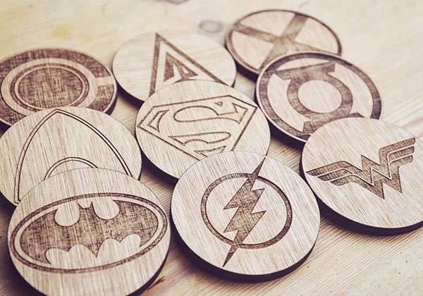 Handmade Justice League Wooden Coaster Set