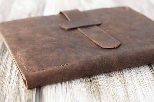 Handmade Personalized Leather iPad Pro Case with Apple Pencil Holder