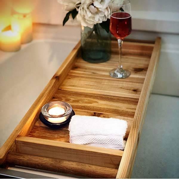 Handmade Wooden Bath Tray with iPad Holder