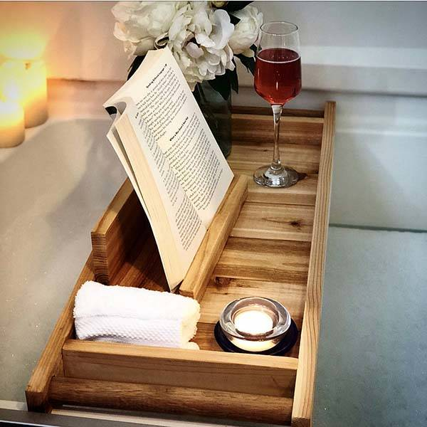 Handmade Wooden Bath Tray with iPad Holder
