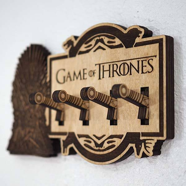 Handmade Wooden Game of Thrones Key Holder