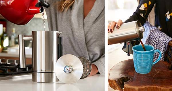 Rite Press French Press Coffee Maker Boasts Hourglass Timer and Thermometer