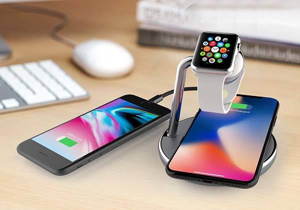 Apple Watch Stand with Wireless Charging Pad and USB Port