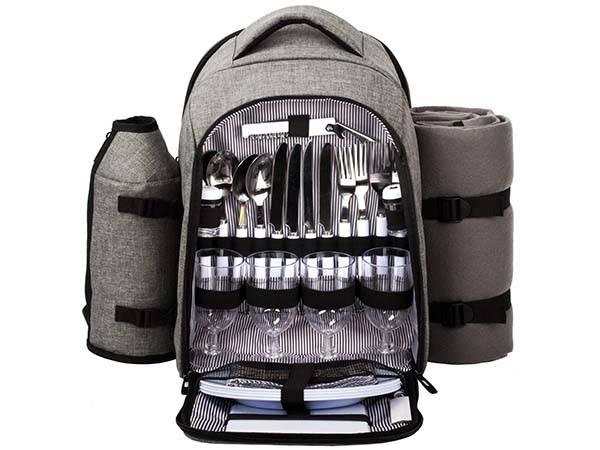 Waterproof Picnic Backpack with Cooler Compartment, Bottle Holder and Fleece Blanket